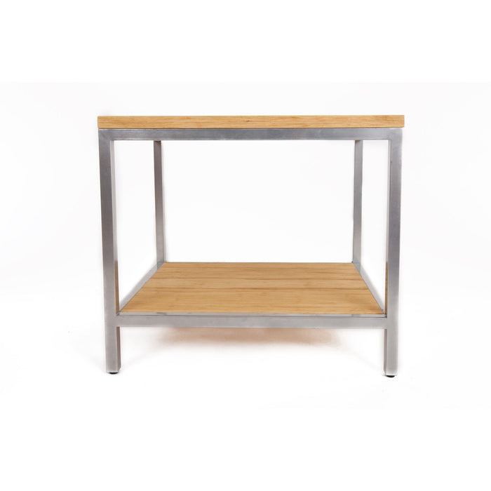 Bamboogle Timber Rectangle Side Table With Silver Legs BKL-30-S-2420-T-Minimal & Modern