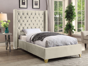 Meridian Furniture Barolo Cream Velvet Twin Bed