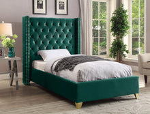 Meridian Furniture Barolo Green Velvet Twin Bed