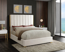Meridian Furniture Becca Cream Velvet Full Bed