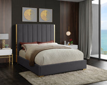 Meridian Furniture Becca Grey Velvet Queen Bed