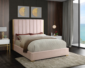 Meridian Furniture Becca Pink Velvet King Bed