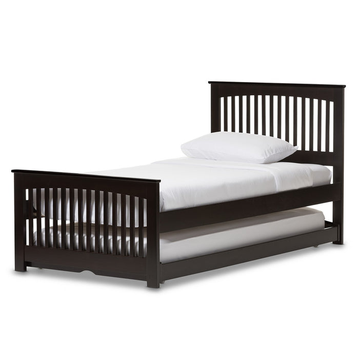Baxton Studio Hevea Twin Size Dark Brown Solid Wood Platform Bed with Guest Trundle Bed Baxton Studio-beds-Minimal And Modern - 1