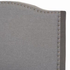 Baxton Studio Benjamin Modern and Contemporary Grey Fabric Upholstered Twin Size Arched Bed with Nail Heads