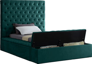 Meridian Furniture Bliss Green Velvet Twin Bed (3 Boxes)