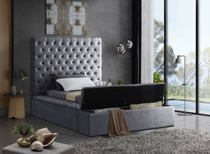 Meridian Furniture Bliss Grey Velvet Twin Bed (3 Boxes)