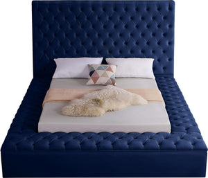 Meridian Furniture Bliss Navy Velvet Full Bed (3 Boxes)