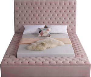 Meridian Furniture Bliss Pink Velvet Queen Bed (3 Boxes)