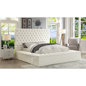 Meridian Furniture Bliss White Velvet Queen Bed (3 Boxes)-Minimal & Modern