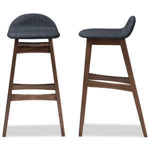 Baxton Studio Bloom Mid-century Retro Modern Scandinavian Style Dark Blue Fabric Upholstered Walnut Wood Finishing 30-Inches Bar Stool (Set of 2) Baxton Studio-Bar Stools-Minimal And Modern - 1