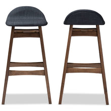 Baxton Studio Bloom Mid-century Retro Modern Scandinavian Style Dark Blue Fabric Upholstered Walnut Wood Finishing 30-Inches Bar Stool (Set of 2) Baxton Studio-Bar Stools-Minimal And Modern - 2