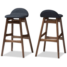 Baxton Studio Bloom Mid-century Retro Modern Scandinavian Style Dark Blue Fabric Upholstered Walnut Wood Finishing 30-Inches Bar Stool (Set of 2) Baxton Studio-Bar Stools-Minimal And Modern - 3