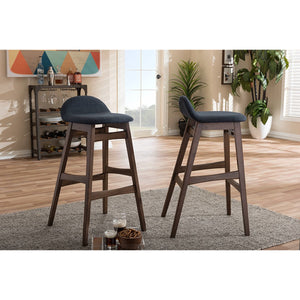 Baxton Studio Bloom Mid-century Retro Modern Scandinavian Style Dark Blue Fabric Upholstered Walnut Wood Finishing 30-Inches Bar Stool (Set of 2) Baxton Studio-Bar Stools-Minimal And Modern - 4
