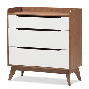 Baxton Studio Brighton Mid-Century Modern White and Walnut Wood 3-Drawer Storage Chest Baxton Studio-Dresser-Minimal And Modern - 2