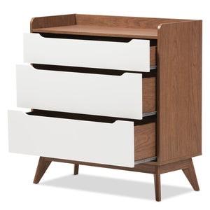 Baxton Studio Brighton Mid-Century Modern White and Walnut Wood 3-Drawer Storage Chest Baxton Studio-Dresser-Minimal And Modern - 3