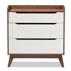 Baxton Studio Brighton Mid-Century Modern White and Walnut Wood 3-Drawer Storage Chest Baxton Studio-Dresser-Minimal And Modern - 4