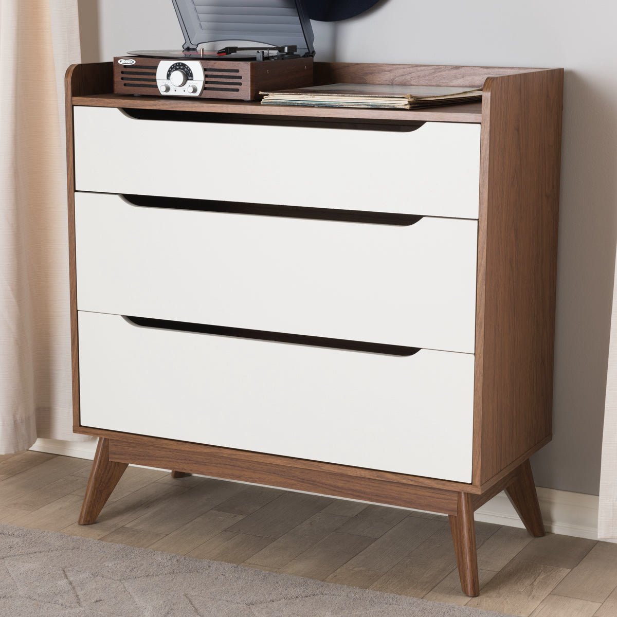 Baxton Studio Brighton Mid-Century Modern White and Walnut Wood 3-Drawer Storage Chest Baxton Studio-Dresser-Minimal And Modern - 1