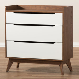 Baxton Studio Brighton Mid-Century Modern White and Walnut Wood 3-Drawer Storage Chest Baxton Studio-Dresser-Minimal And Modern - 7