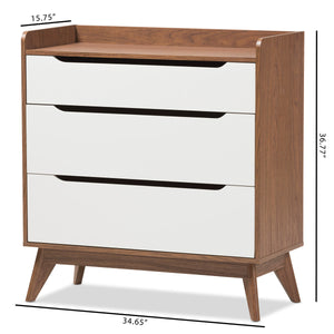 Baxton Studio Brighton Mid-Century Modern White and Walnut Wood 3-Drawer Storage Chest Baxton Studio-Dresser-Minimal And Modern - 8