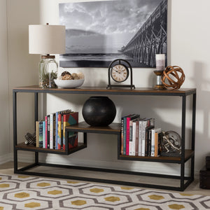 Baxton Studio Doreen Rustic Industrial Style Antique Black Textured Finished Metal Distressed Wood Console Table Baxton Studio-side tables-Minimal And Modern - 1