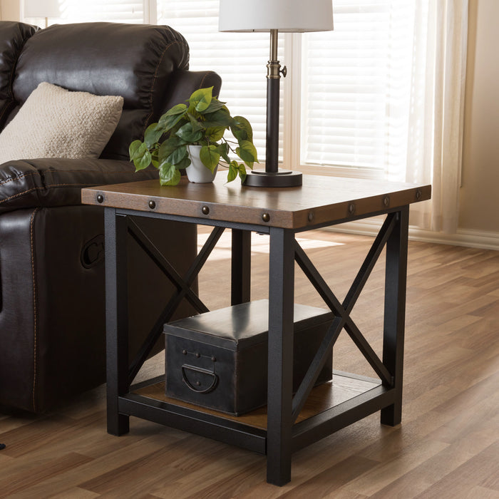 Baxton Studio Herzen Rustic Industrial Style Antique Black Textured Finished Metal Distressed Wood Occasional End Table Baxton Studio-coffee tables-Minimal And Modern - 1