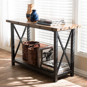 Baxton Studio Herzen Rustic Industrial Style Antique Black Textured Finished Metal Distressed Wood Occasional Console Table Baxton Studio-side tables-Minimal And Modern - 1