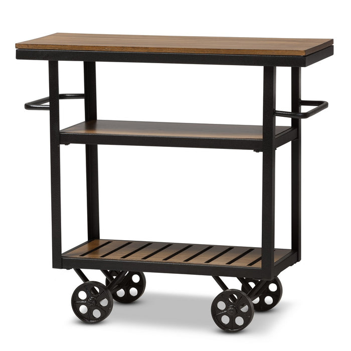Baxton Studio Kennedy Rustic Industrial Style Antique Black Textured Finished Metal Distressed Wood Mobile Serving Cart Baxton Studio-Trolleys and Carts-Minimal And Modern - 1