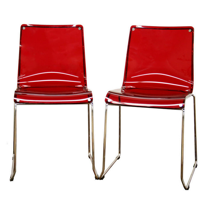 Baxton Studio Lino Transparent Red Acrylic Accent Chair Dining Chair (Set of 2) Baxton Studio-dining chair-Minimal And Modern - 1