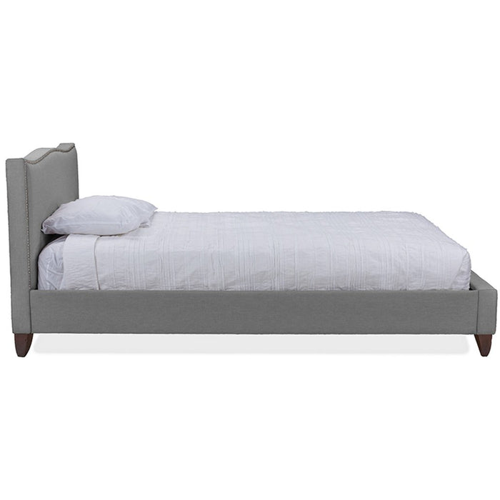 Baxton Studio Battersby Grey Linen Modern Queen Size Bed with Upholstered Baxton Studio-beds-Minimal And Modern - 1