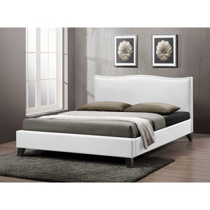 Baxton Studio Battersby White Modern Bed with Upholstered Headboard - Queen Size  Baxton Studio-beds-Minimal And Modern - 1