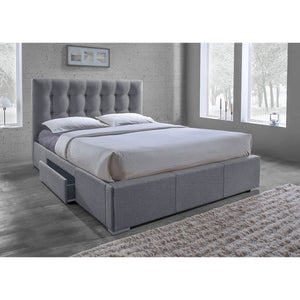 Baxton Studio Sarter Contemporary Grid-Tufted Grey Fabric Upholstered Storage Queen-Size Bed with 2-drawer Baxton Studio-beds-Minimal And Modern - 5