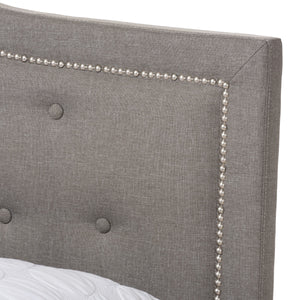 Baxton Studio Emerson Modern and Contemporary Light Grey Fabric Upholstered King Size Bed Baxton Studio-King Bed-Minimal And Modern - 5