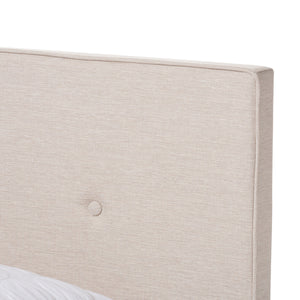 Baxton Studio Hampton Modern and Contemporary Light Beige Fabric Upholstered King Size Bed Baxton Studio-King Bed-Minimal And Modern - 5