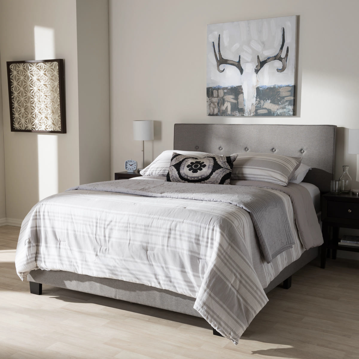 Baxton Studio Hampton Modern and Contemporary Light Grey Fabric Upholstered Full Size Bed Baxton Studio-Full Bed-Minimal And Modern - 1