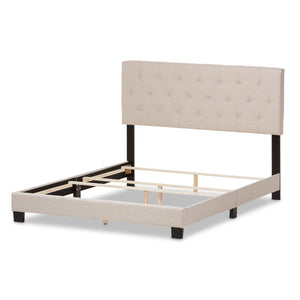 Baxton Studio Cassandra Modern and Contemporary Light Beige Fabric Upholstered Queen Size Bed Baxton Studio-Queen Bed-Minimal And Modern - 4