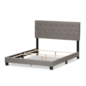 Baxton Studio Cassandra Modern and Contemporary Light Grey Fabric Upholstered King Size Bed Baxton Studio-King Bed-Minimal And Modern - 4