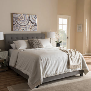 Baxton Studio Cassandra Modern and Contemporary Light Grey Fabric Upholstered King Size Bed Baxton Studio-King Bed-Minimal And Modern - 1