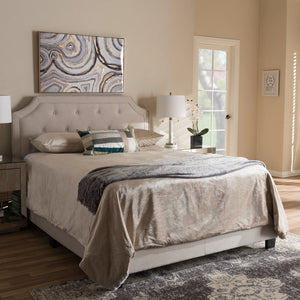 Baxton Studio Willis Modern and Contemporary Light Beige Fabric Upholstered Full Size Bed Baxton Studio-Full Bed-Minimal And Modern - 1