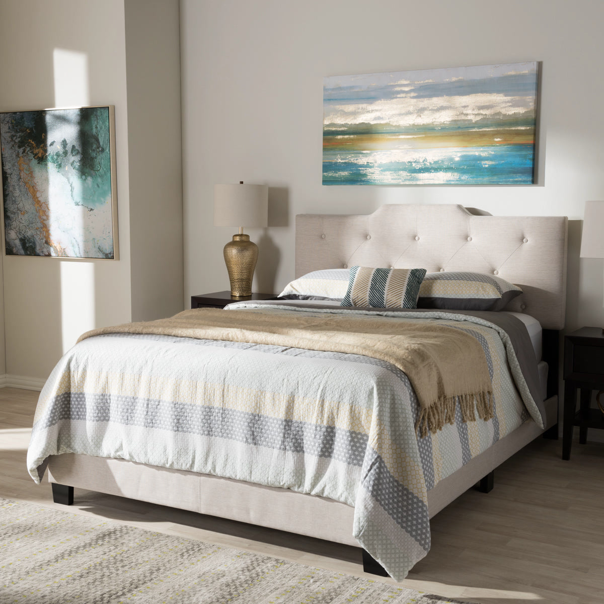 Baxton Studio Brunswick Modern and Contemporary Light Beige Fabric Upholstered Queen Size Bed Baxton Studio-Queen Bed-Minimal And Modern - 1