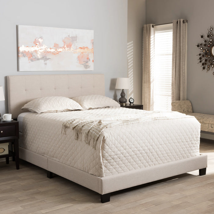 Baxton Studio Brookfield Modern and Contemporary Beige Fabric Upholstered Grid-tufting Queen Size Bed Baxton Studio-Queen Bed-Minimal And Modern - 1