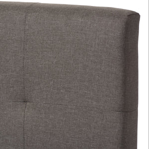 Baxton Studio Brookfield Modern and Contemporary Grey Fabric Upholstered Grid-tufting Queen Size Bed Baxton Studio-Queen Bed-Minimal And Modern - 4