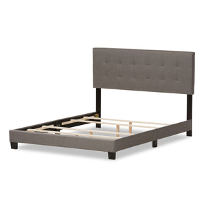 Baxton Studio Brookfield Modern and Contemporary Grey Fabric Upholstered Grid-tufting Queen Size Bed Baxton Studio-Queen Bed-Minimal And Modern - 5