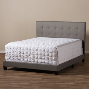 Baxton Studio Brookfield Modern and Contemporary Grey Fabric Upholstered Grid-tufting Queen Size Bed Baxton Studio-Queen Bed-Minimal And Modern - 6