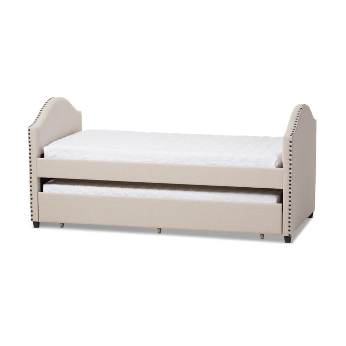 Baxton Studio Alessia Modern and Contemporary Beige Fabric Upholstered Daybed with Guest Trundle Bed Baxton Studio-daybed-Minimal And Modern - 1