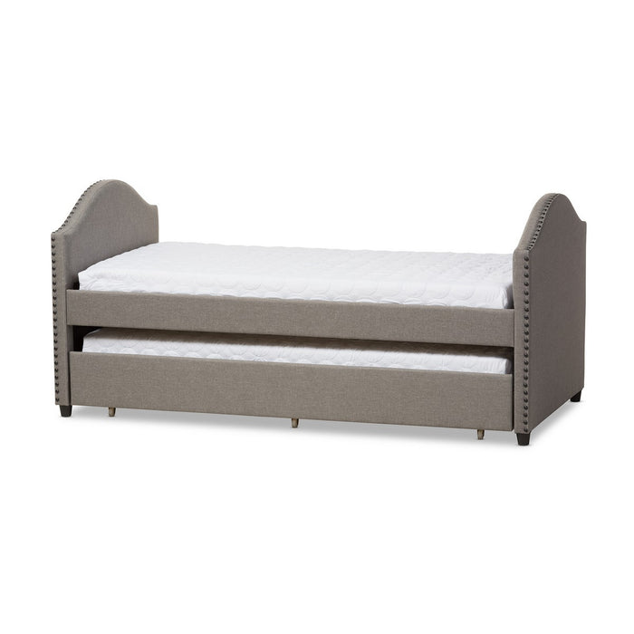 Baxton Studio Alessia Modern and Contemporary Grey Fabric Upholstered Daybed with Guest Trundle Bed Baxton Studio-daybed-Minimal And Modern - 1