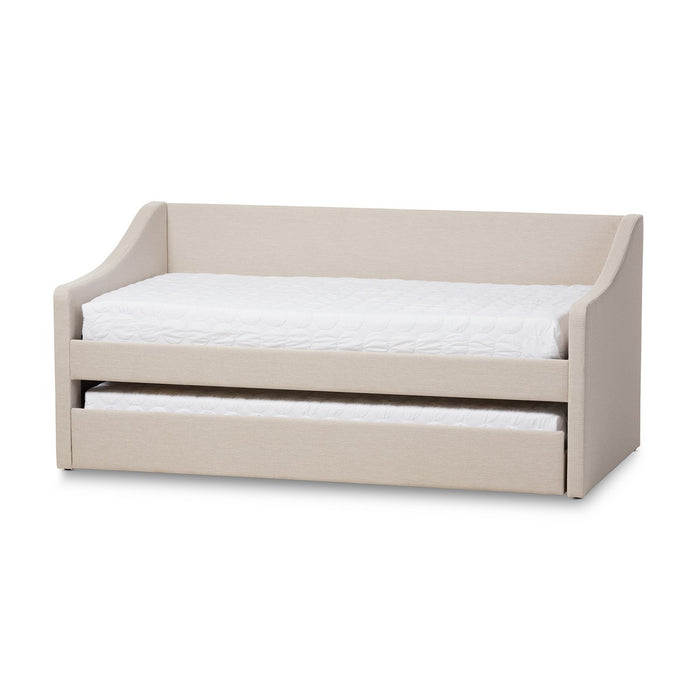Baxton Studio Barnstorm Modern and Contemporary Beige Fabric Upholstered Daybed with Guest Trundle Bed Baxton Studio-daybed-Minimal And Modern - 1