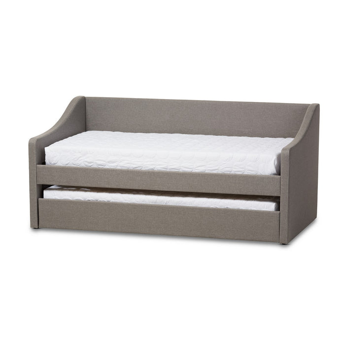 Baxton Studio Barnstorm Modern and Contemporary Grey Fabric Upholstered Daybed with Guest Trundle Bed Baxton Studio-daybed-Minimal And Modern - 1