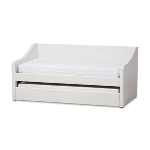 Baxton Studio Barnstorm Modern and Contemporary White Faux Leather Upholstered Daybed with Guest Trundle Bed Baxton Studio-daybed-Minimal And Modern - 1