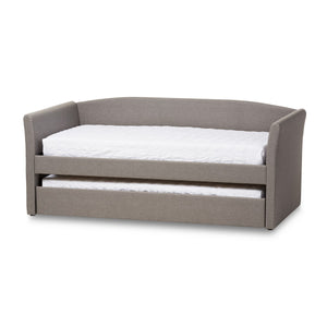 Baxton Studio Camino Modern and Contemporary Grey Fabric Upholstered Daybed with Guest Trundle Bed Baxton Studio-daybed-Minimal And Modern - 1