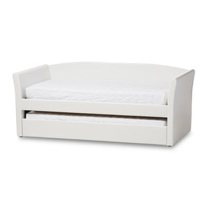 Baxton Studio Camino Modern and Contemporary White Faux Leather Upholstered Daybed with Guest Trundle Bed Baxton Studio-daybed-Minimal And Modern - 1
